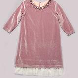 Платье из бархата для девочки 6-10 лет - Розовый кварц