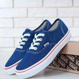 Кеды, Ванс Vans Authentic Blue/Red Line джинсовые