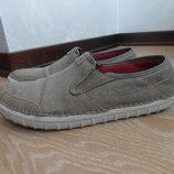 туфли мокасины 29 см 42,5 рр мужские кожа ткань серые Clarks Кларкс хаки коричневые