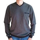 Серый мужской свитер Caporicco Турция с вырезом мыс