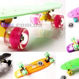 Скейт Пенни борд Penny board Fish 22 оригинал ABEC - 11 светящиеся супер быстрые колеса