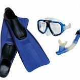 Набор синий маска трубка ласты от 8лет Intex Интекс 55957