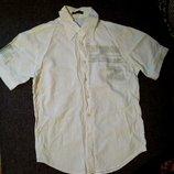 рубашка мужская М-L белая/светло-бежевая
