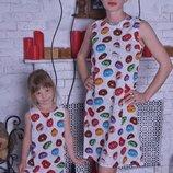 Family look летние платья Пироженые мама дочка