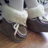 Пинетки-Ботинки натур замша мех 0-9 мес. ст. 11 см