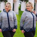 Женская вязанная курточка на змейке в больших размерах 2027 Капюшон Орнамент в расцветках.