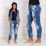 Стильные женские джинсы рванка бойфренд в больших размерах 11291.
