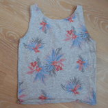 майка 8-10 л 134-140 см футболка серая цветы голубая H&M НМ
