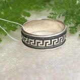 Кольцо серебряное Меандр