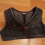 Моднявая жилетка джинс на р 7-9лет