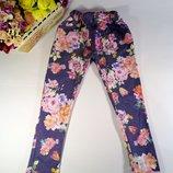 Лосины для девочки стрейчевые под джинс с цветочным принтом р-р 28,30,34