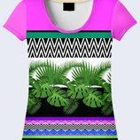 Креативная 3D футболка Орнамент и листья