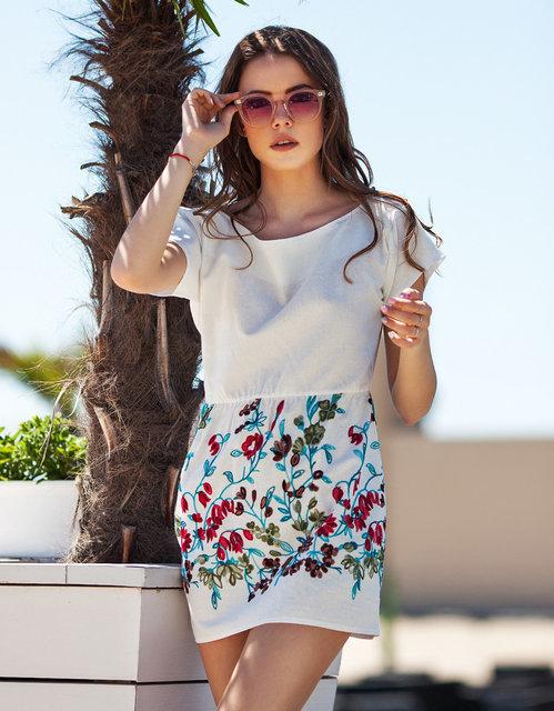 Летнее короткое женское платье 1112 Лён Вышивка Купон Мини в расцветках.   555 грн - повседневные платья в Одессе 15a05ff8a8661