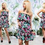 Элегантное летнее короткое платье 221 Шифон Цветы Бюстье Волан в расцветках.