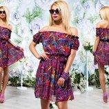 Летнее короткое женское платье 214 Шифон Цветы Фонарики Мини в расцветках.