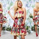 Элегантное летнее короткое платье 217 Штапель Цветы Бюстье Волан в расцветках.