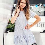 Стильное летнее короткое платье 067 Лён Полоска Оборка в расцветках.