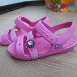 Кроксы детские рр С 11 стелька 19 см Crocs Крокс розовые цветок оригинал лето море бассейн