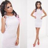 Элегантное летнее короткое платье 4000 Батист Прошва Полоска в расцветках.