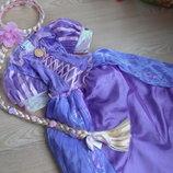карнавальное платье костюм л принцесса рапунцель фиолетовое девочке Disney коса парик Оригинал