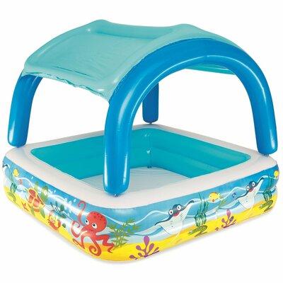 Детский надувной бассейн с навесом съёмная крыша 52192