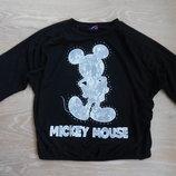 кофта черная детская 6-7 л 11-12 л девочке 3/4 рукав Disney Дисней минни маус кружево