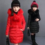 Пальто для девочки, черный, красный, 120см 130см 140см 150см 160см