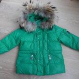 куртка детская Moncler 4 г 104 см зеленая пух мех фирменная пуховик оригинал