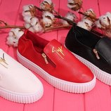 Акция Черные и белые слипоны мокасины туфли на толстой белой подошве