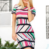 Платье футляр полоска