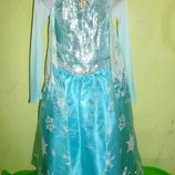 платье Эльзы,снежной королевы на 7-8 и 9-10 лет