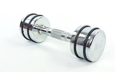 Гантель для фитнеса хромированная 5204-4 вес 4кг, металл хромированный с резиновыми кольцами
