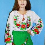 Вишиванка для дівчинки Фіолетові Квіти. Вышиванка для девочки. Размеры 98-146