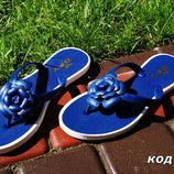 Р а с п р о д а ж а Вьетнамки силиконовые синие цветок. Польша