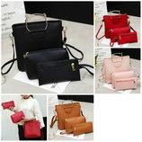 Модный набор женских сумок с ручками котиками В Наличии