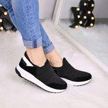Женские черные кроссовки текстиль
