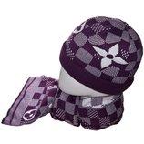 Набор женский 13102 шапка на флисе с подворотом, шарф