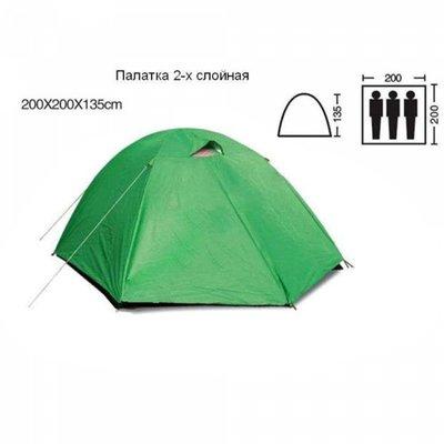Палатка туристическая трехместная с тентом Shengyuan SY-007 2х2х1,35 м