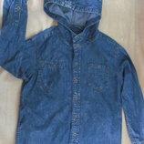 Фирменная джинсовая рубашка на 11 лет, 146см, фирменная джинсовая кофта, фирменная джинсовая ветровк