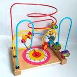 Большой деревянный пальчиковый лабиринт с часиками развивающие игрушки