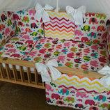 Комплект в детскую кроватку с карманом, балдахин