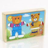 Деревянный Гардероб Одень Мишку 0422, 0423 развиавюющая игрушка