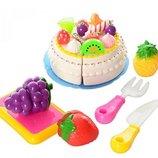 Продукты 170C1 на липучке торт, фрукты 3шт, нож, досточка, вилка