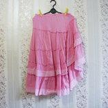 Юбка р.44-50 на резинке розовая женская смотри замеры, распродажа хлопок лето.