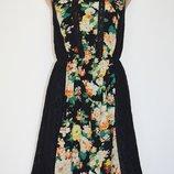 Шифоновое платье, сарафан с кружевными вставками Boohoo