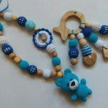 Можжевеловые слингобусы Мишка мальчику,эко,мамабусы,кормительные бусы,синие,ручная работа деревянные