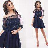 Элегантный женский нарядный комплект с платьем 2045 Двойка Бюстье Сетка Цветы в расцветках.