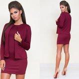 Женский стильный комплект платье пиджак-кардиган 3009 Трикотаж Двойка в расцветках.