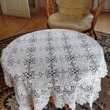 Белая скатерть на стол,салфетка,вязаная крючком