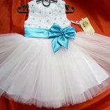Нарядное платье Розочка бирюза в наличии